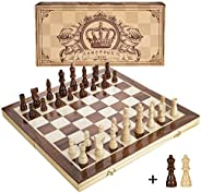 Amerous 15 Inches Magnetic Wooden Chess Set - 2 Extra Queens - Folding Board, Handmade Portable Travel Chess B