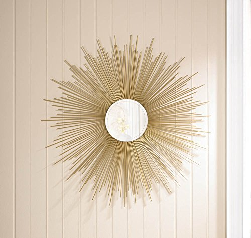 VINTAGE STYLE GOLDEN Shimmering RAYS Wall Round MIRROR (Shimmering Decor)