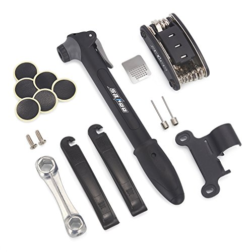 Balala Bike Repair Kit, Multi-Function Bicycle Cycling Mechanic Repair Tool, Mini Bike Pump & Mounting Bracket & Allen Wrench & Repair Tool Kit & Metal & Tire Levers & Screw & Glueless Patches & Ball by Balala (Image #1)