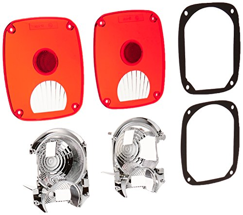 RAMPAGE PRODUCTS 5307 Taillight Conversion Kit w/Euro Lenses for 1976-2006 Jeep CJ, Wrangler YJ, LJ & TJ Brite - Pair ()
