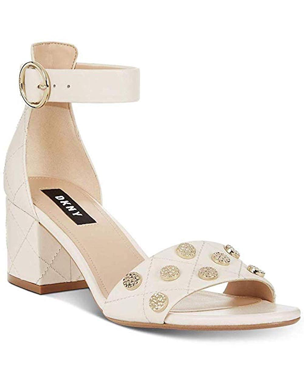Ivory DKNY Womens Henli Leather Studded Dress Sandals
