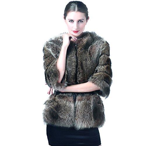 URSFUR Women's Raccoon Fur Slim Coat Winter Short Jacket by URSFUR