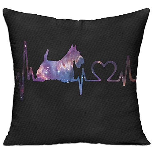 CY STORE Scottish Terrier Heartbeat Dog Square Cotton Linen Sofa Cushion Covers Decorative Home Zippered Custom Throw Pillow 18 X 18 Inch(contain Pillow - Pillow Terrier Linen