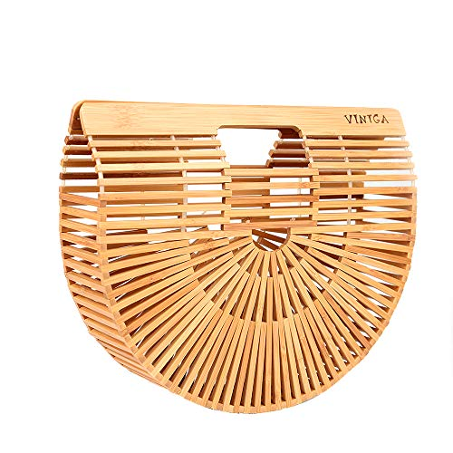 Vintga Bamboo Handbag Handmade Tote Bamboo Purse Straw Beach Bag for Women (Bamboo ()