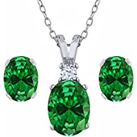 4.63 Ct Oval Green Simulated Emerald 925 Sterling Silver Pendant Earrings Set