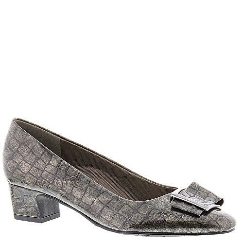Easy Street Womens Wisteria Pump,Pewter Patent Croco,US 6 N