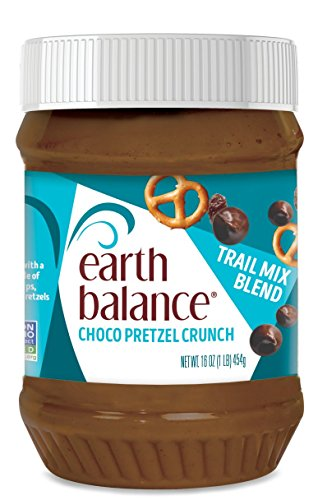 Earth Balance Peanut Butter Trail Mix Spread, Choco Pretzel Crunch, Non-GMO Project Verified, Vegan, 16 Ounce ()
