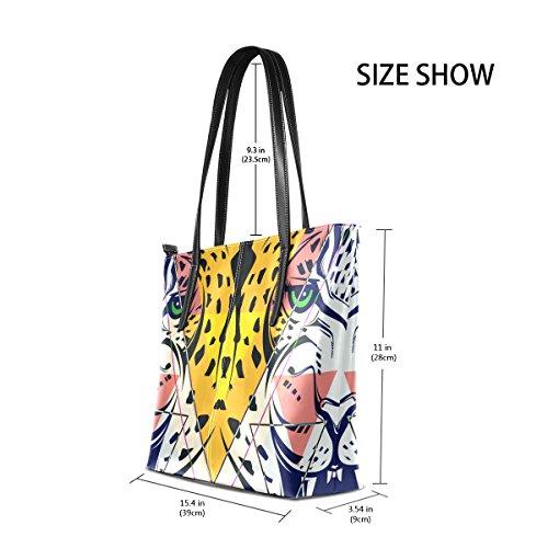 COOSUN Mode Leopard Kopf PU Leder Schultertasche Handtasche und Handtaschen Tasche für Frauen