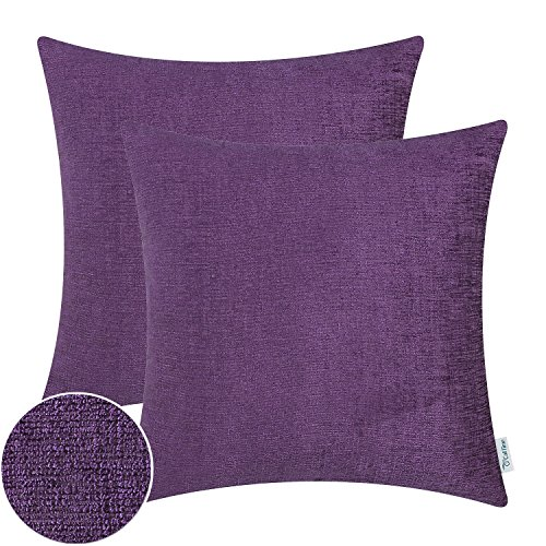 Purple Toss Pillow (Pack of 2 CaliTime Throw Pillow Covers Cases for Couch Sofa Home Decor, Solid Dyed Soft Chenille, 18 X 18 Inches, Deep Purple)