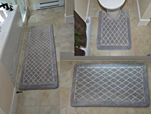 Amazon Com Diamond Gray 3 Piece Memory Foam Bath Mat 64 Quot X
