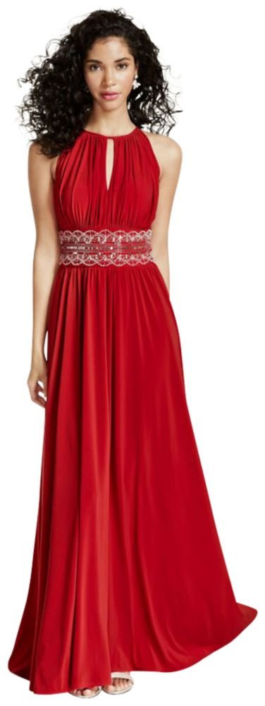 David's Bridal Sleeveless KeyHole Beaded Waist Jersey Dress Style 1298, Red, 12