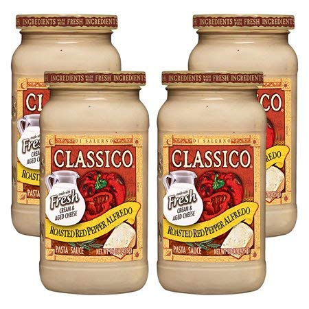 Pasta Sauce Alfredo Roasted Red Pepper, 15 oz (4 Packs), Create a Sauce Distinctive Made with Fresh Cream.