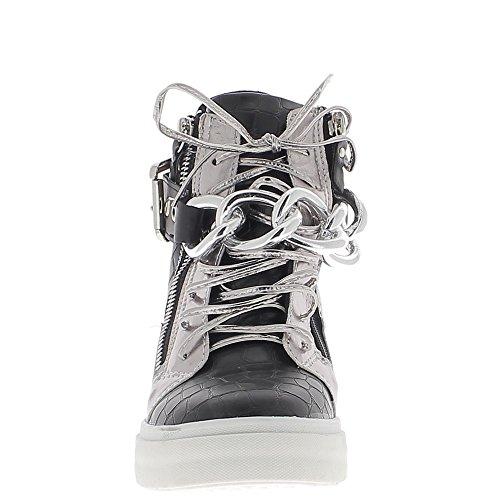 Scarpe da ginnastica offset rising nero argento a tacco 8cm
