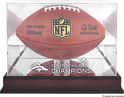 Broncos Display Cases (Sports Memorabilia Denver Broncos Mahogany Football Super Bowl 50 Champions Logo Display Case - Fanatics Authentic Certified)