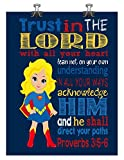 Supergirl Christian Superhero Wall Art Print Nursery Decor – Trust in the Lord with all your heart Proverbs 3:5-6