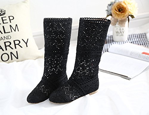 Slip Boots Flat Womens Gladiator Mesh Black ORANDESIGNE Shoes High Elegant Fashion Embroidery Boots Shoes Summer On 8fCxUF