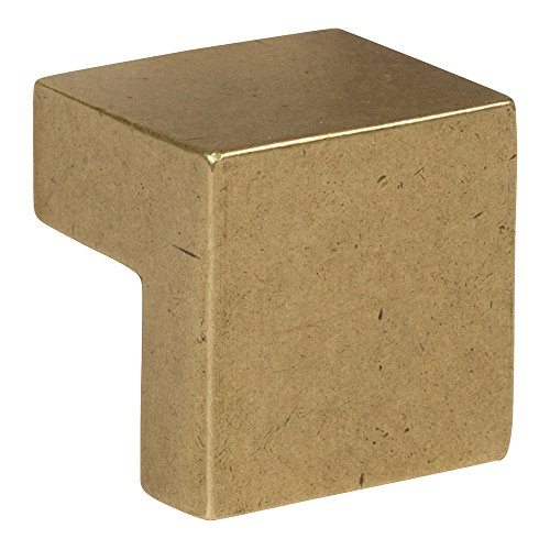 (Atlas Homewares A865-UB Successi Collection 0.98 Inch Small Square Knob, Vintage Brass Finish)
