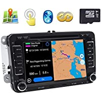7 2 Din Touch Screen GPS Navigation Car DVD Player for VW Volkswagen Jetta Golf 5 6 Skoda Passat Caddy T5 Seat with Can-bus,Bluetooth, RDS,Radio,Free North America Map Card