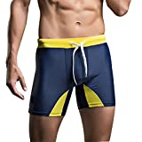 "TiRain Compression Boxer Brief Swimsuit Tie Rope Trunks (XS(Tag Size M) Waistline:23-29"", Navy Blue)"