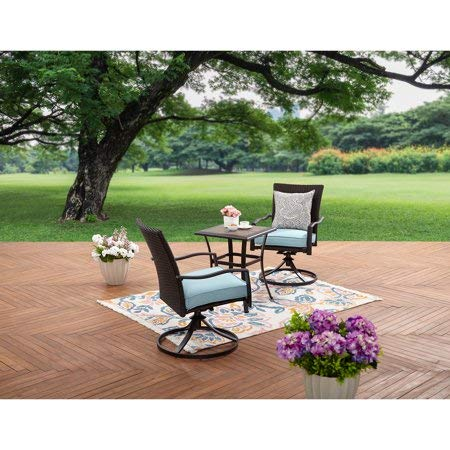 Charming,Durable,Super Soft and Comfortable Better Homes and Garden Piper Ridge 3-Piece Wicker Bistro Set,Blue
