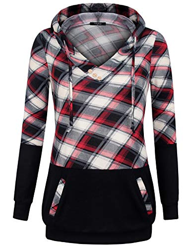VALOLIA Plaid Sweatshirts for Women, Hoodies for Womens Pullover Casual Outfits Trendy Hood Shirt with Pocket RB XXL ()