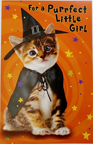 For a Purrfect Little Girl - Happy Halloween Greeting Card w/ Cute Lil Cat Witch