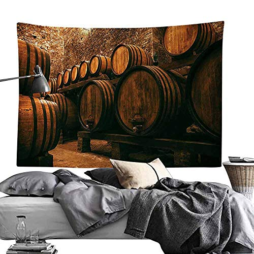 Homrkey Polyester Tapestry Winery Decor Collection Barrels for Storage of Wine Italy Oak Container in Cold Dark Underground Cellar Tapestry for Room W70 x L59 Sienna Peru Brown