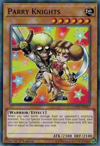 COTD-EN037-1ST EDITION PARRY KNIGHTS YU-GI-OH CARD