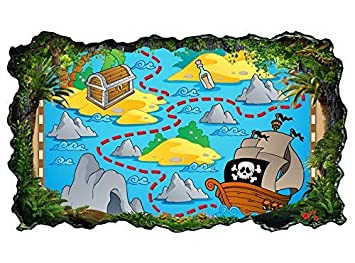 3d Wandtattoo Kinderzimmer Cartoon Karte Schatzkarte Pirat Schiff
