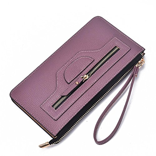 Price comparison product image GBSELL Fashion Women Lady Leather Long Wallet Clutch Card Holder Purse Handbag (Purple)