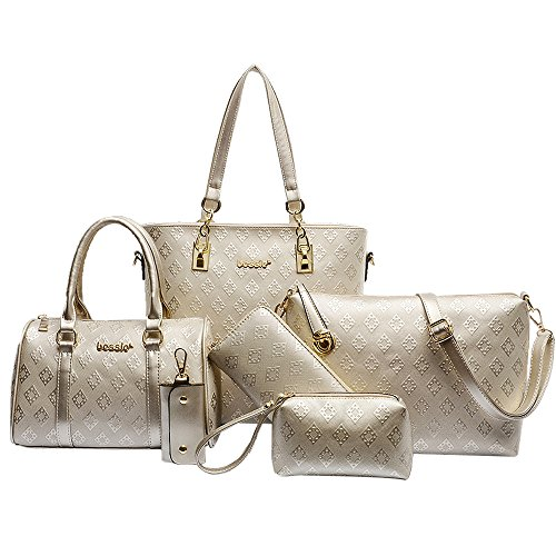 Women Handbag,Women Bag, KINGH Vintage Argyle PU Leather Tote Clutch Purse 6 PCS Set Bag 090 Gold (Elegant Purse)