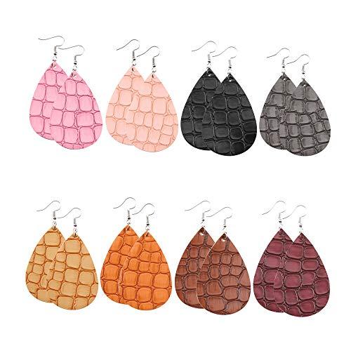 Turtle Print Earrings for Women Crocodile Pattern Faux Leather Teardrop Earrings for Women Leather Leaf Earrings Dangle for Girls