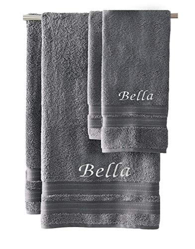 Liberty21 Luxury Embroidered Bath & Hand Towels, 100% Cotton. Custom Monogrammed Personalized Embroidered Towels. Set Includes 1 Bath Towel and 1 Hand Towel. (Grey)