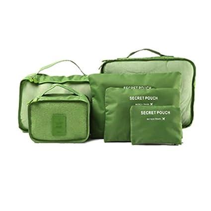 Tandou - 6 bolsas de almacenamiento impermeables para ropa de viaje, bolsa organizadora de equipaje verde verde