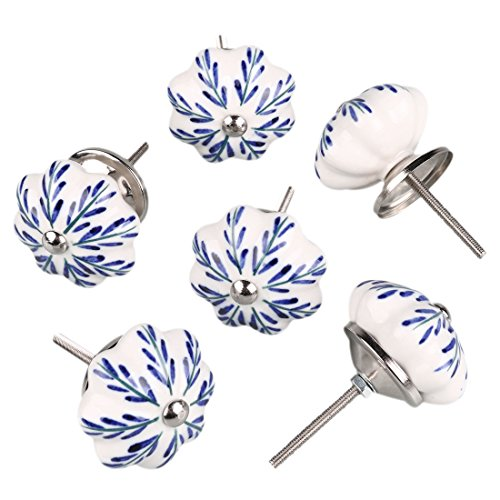 uxcell 6 Pieces Vintage Shabby Knobs White and Blue Floral Hand Painted Ceramic Pumpkin Cupboard Wardrobe Cabinet Drawer Door Handles Pulls Knob, Pachira Macrocarpa