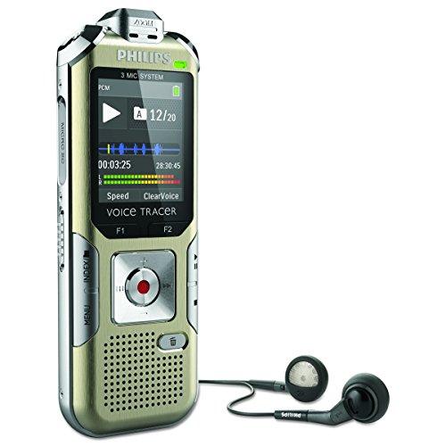 Philips DVT6500 Digitales Diktiergerät mit 3 Mic-Hi-Fi-Aufnahme, MP3, PCM, 4 GB interner Speicher, Bewegungssensor, Fernbedienung, Kopfhörer und Li-Polymer-Akku, Micro-USB-Anschluss, Champagner