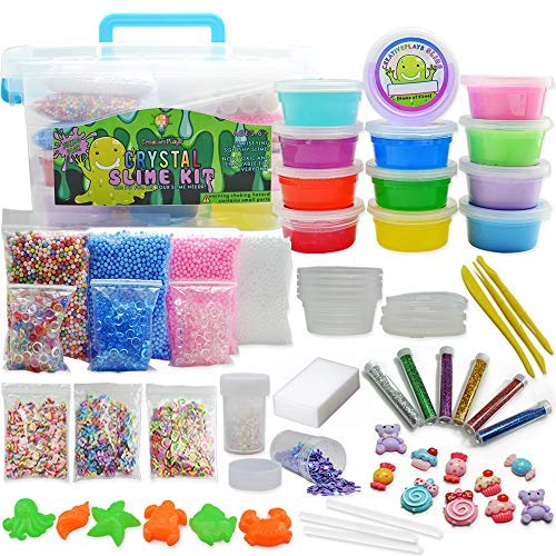 Jumbo DIY Clear and Fluffy Slime Kit - Supplies The Ultimate Stuff for Girls and Boys Making Slime. Add Ins of Crunchy Fishbowl Beads, Glitter, Foam Balls, Fruit Slices, Charms and Jelly Cubes! -