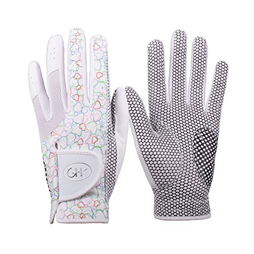 (GH Women's Leather Golf Gloves One Pair - Heart Patterned Both Hands (White, 19 (S)) )