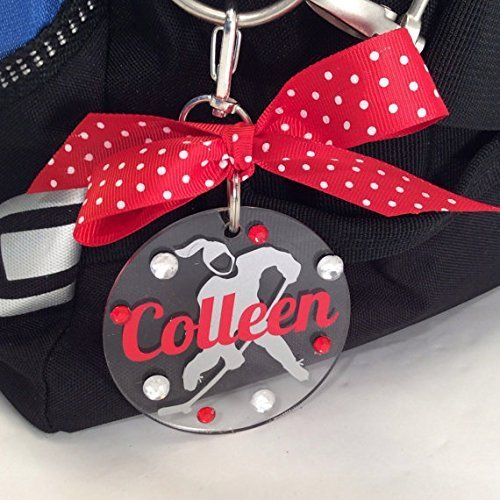 Ice Hockey Girl Bag Tag Personalized with Your Name and Your Colors