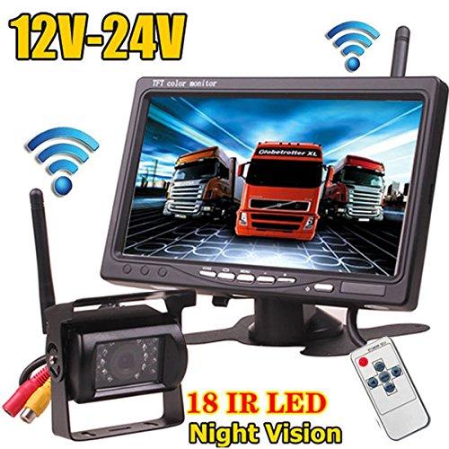 12 V-24 V Wireless 18LEDs IR visió n nocturna impermeable cá mara de visió n trasera de copia de seguridad de marcha atrá s sistema + 7 'monitor TFT LCD HD coche para Bus camió n remolque xinyida