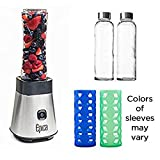 Mini blender for Making Smoothies with (2) Smoothie Glass Bottles and (2) Glass Bottles Silicone Sleeves