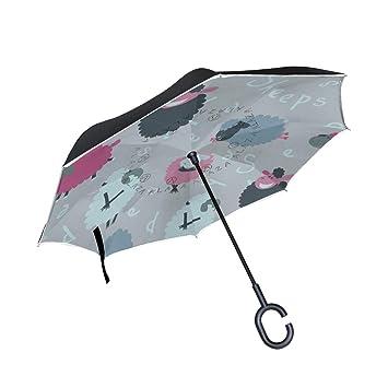 ALINLO - Paraguas invertido con diseño de ovejas de Dibujos Animados, Doble Capa, Impermeable