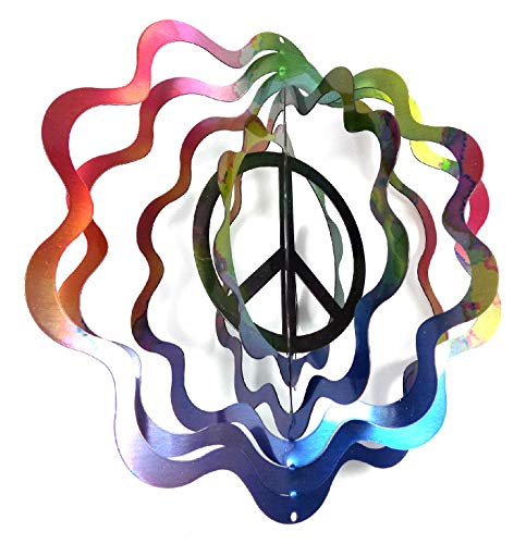 WorldaWhirl Whirligig 3D Wind Spinner Hand Painted Stainless Steel Twister Peace Sign (12