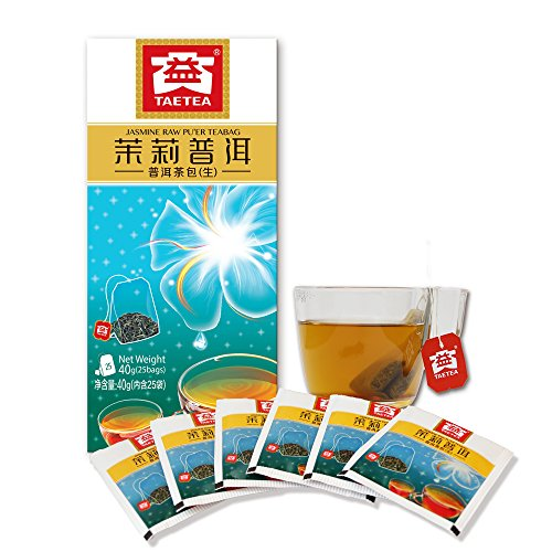 TAE TEA Tea Bags PU'ER Raw TEA (Jasmine) Organic Black Tea 25 Bags(1.6 grams per serving)