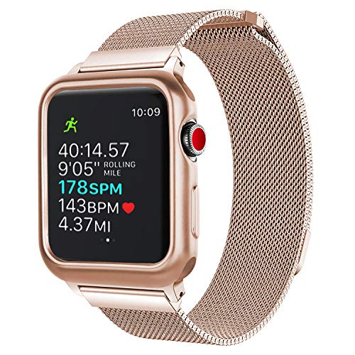 Unti Compatible Apple Watch Band 38mm 42mm, Mesh Milanese Loop with Protective Compatible Apple Watch Case Compatible iWatch Series 3 2 1 (38mm Champagne Gold for Series 3)