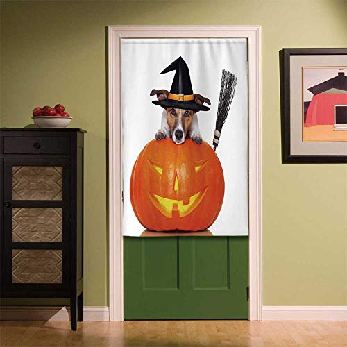 YOLIYANA Halloween Non Fading Door Curtain,Witch Dog with a Broomstick on Large Pumpkin Fun Humorous Hilarious Animal Print for Coffee Shop Snack Bar,33.46''W x 55.12''H]()