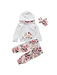 Miwear Baby Girls Floral Long Sleeve Hoodie + Long Pants + Headband Outfits Set