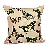 E by design O5PAN491TA9-16 16 x 16'' Butterflies Animal Print Brown Outdoor Pillow