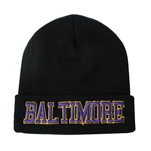ChoKoLids Classic Cuff Beanie Hat - Black Cuffed Football Winter Skully Hat Knit Toque Cap (Baltimore) (Raven Black Beanie)