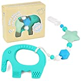 Teethers for Babies Bpa Free Silicone - Turquoise Elephant Teething Toy and Universal Pacifier Clip for Stylish Little Girl or Boy - Binky Holder Pain Relief Set - Best Unique Gift for Baby Shower